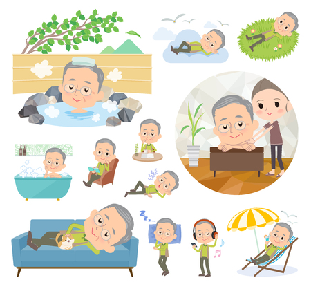 A set of old men about relaxing.There are actions such as vacation and stress relief.It's vector art so it's easy to edit.