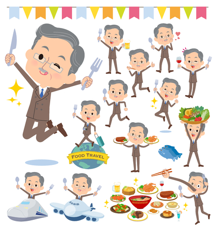 A set of middle men on food events.There are actions that have a fork and a spoon and are having fun.It's vector art so it's easy to edit.  イラスト・ベクター素材