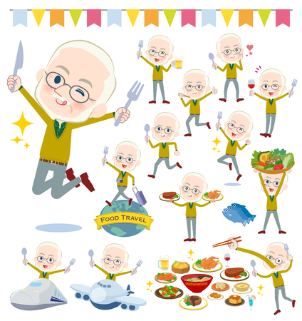 A set of old men on food events.There are actions that have a fork and a spoon and are having fun.It's vector art so it's easy to edit. Illustration