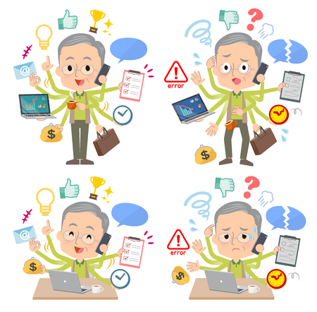 Un gruppo di uomini anziani che eseguono multitasking in ufficio.Ci sono cose da fare senza intoppi e uno schema che è in preda al panico.È arte vettoriale quindi è facile da modificare.