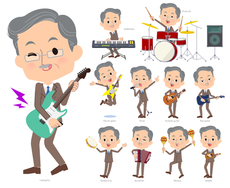 A set of middle men playing rock n roll and pop music.There are also various instruments such as ukulele and tambourine.Its vector art so its easy to edit. Illustration