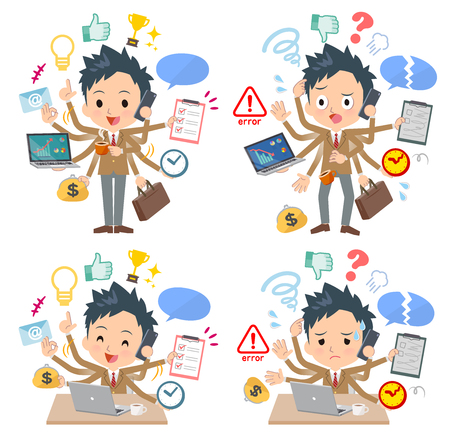 A set of School boy who perform multitasking in the office.There are things to do smoothly and a pattern that is in a panic.It's vector art so it's easy to edit.