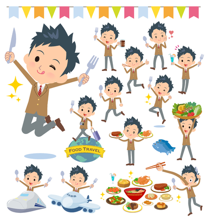 A set of School boy on food events.There are actions that have a fork and a spoon and are having fun.It's vector art so it's easy to edit. Vettoriali
