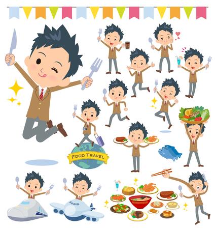 Een set van schooljongen op voedselevenementen. Er zijn acties die een vork en een lepel hebben en plezier hebben. Het is vectorkunst, dus het is gemakkelijk te bewerken. Vector Illustratie