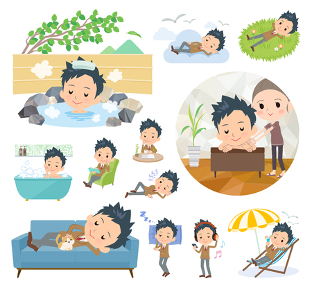 A set of School boy about relaxing.There are actions such as vacation and stress relief.Its vector art so its easy to edit.