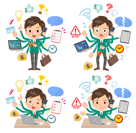 A set of School boy who perform multitasking in the office.There are things to do smoothly and a pattern that is in a panic.Its vector art so its easy to edit. Illusztráció