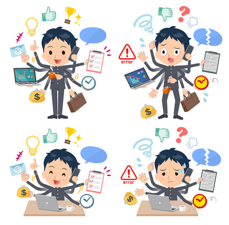 A set of School boy who perform multitasking in the office.There are things to do smoothly and a pattern that is in a panic.It's vector art so it's easy to edit. Banque d'images - 104068181