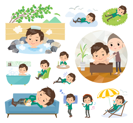 A set of School boy about relaxing.There are actions such as vacation and stress relief.It's vector art so it's easy to edit. 矢量图像