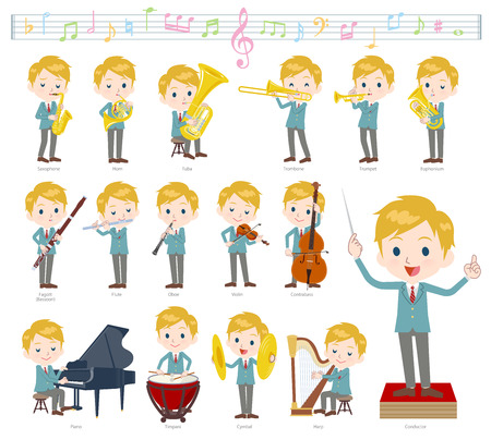 A set of School boy on classical music performances.There are actions to play various instruments such as string instruments and wind instruments.It's vector art so it's easy to edit. Иллюстрация