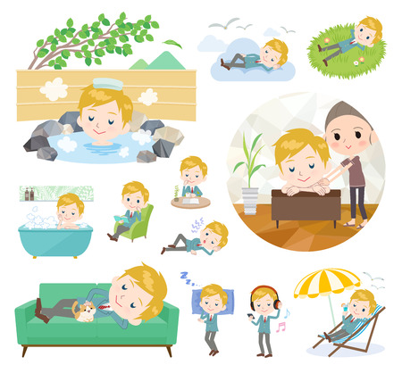 A set of School boy about relaxing.There are actions such as vacation and stress relief.It's vector art so it's easy to edit. Illustration