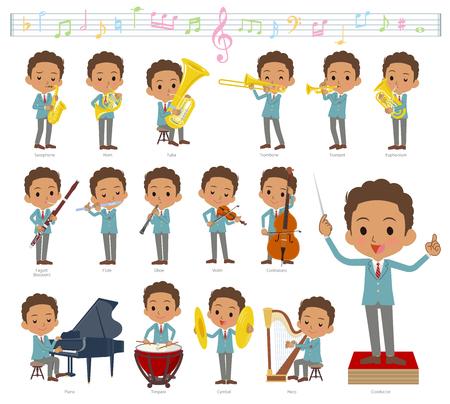 Een set van schooljongen op klassieke muziekuitvoeringen. Er zijn acties om verschillende instrumenten te bespelen, zoals snaarinstrumenten en blaasinstrumenten. Het is vectorkunst, dus het is gemakkelijk te bewerken.