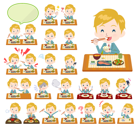 A set of School boy about meals.Japanese and Chinese cuisine, Western style dishes and so on.Its vector art so its easy to edit.