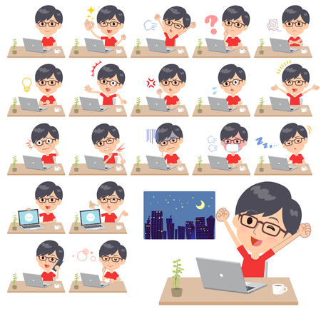 A set of red T-shirt wear men on desk work.There are various actions such as feelings and fatigue.Its vector art so its easy to edit.