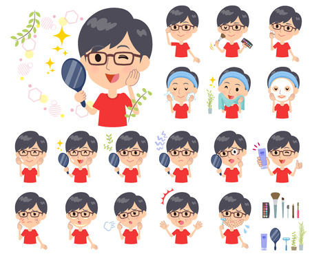 A set of red T-shirt wear men on beauty.There are various actions such as skin care and makeup.It's vector art so it's easy to edit.