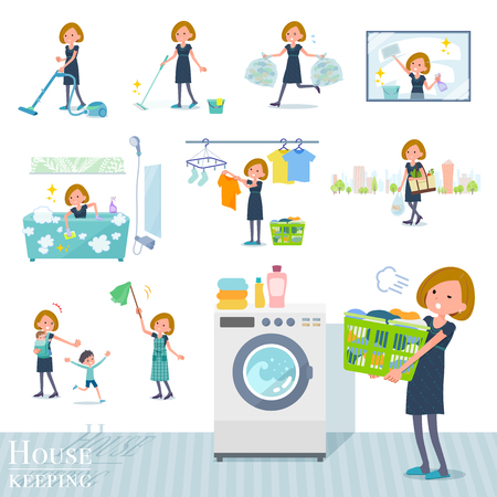 A set of women related to housekeeping such as cleaning and laundry.There are various actions such as child rearing.It's vector art so it's easy to edit.