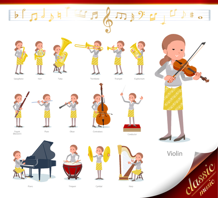 A set of women on classical music performances.There are actions to play various instruments such as string instruments and wind instruments.Its vector art so its easy to edit. Illustration
