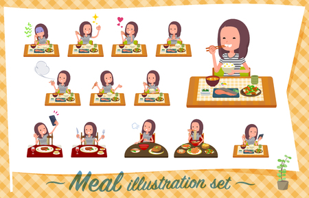 A set of women about meals.Japanese and Chinese cuisine, Western style dishes and so on.Its vector art so its easy to edit.  イラスト・ベクター素材