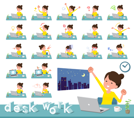 A set of women on desk work.There are various actions such as feelings and fatigue.It's vector art so it's easy to edit. Stock Vector - 111855300