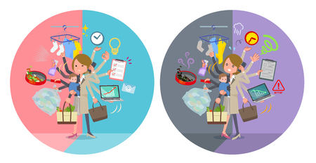 A set of women who perform multitasking in offices and private.There are things to do smoothly and a pattern that is in a panic.It's vector art so it's easy to edit. Illustration