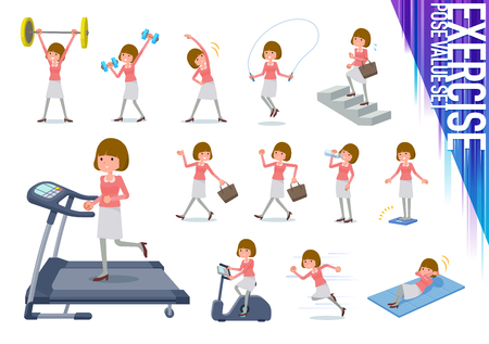 A set of women on exercise and sports.There are various actions to move the body healthy.Its vector art so its easy to edit.