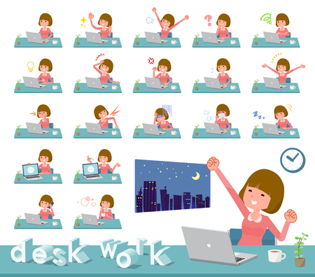 A set of women on desk work.There are various actions such as feelings and fatigue.It's vector art so it's easy to edit. Stock Vector - 111855319