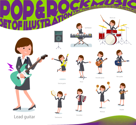 A set of women playing rock 'n' roll and pop music.There are also various instruments such as ukulele and tambourine.It's vector art so it's easy to edit. Иллюстрация
