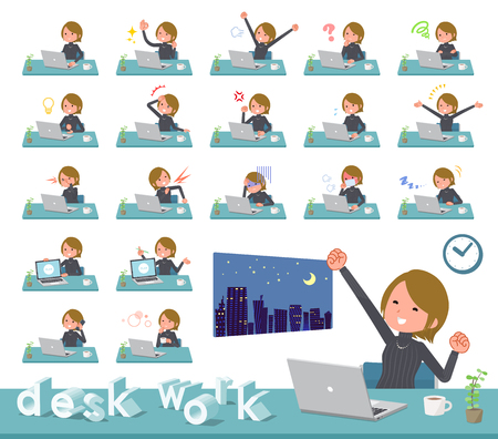 A set of women on desk work.There are various actions such as feelings and fatigue.It's vector art so it's easy to edit. Stock Vector - 111855326