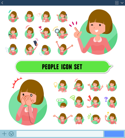A set of woman with expresses various emotions on the SNS screen.There are variations of emotions such as joy and sadness.It's vector art so it's easy to edit. 向量圖像