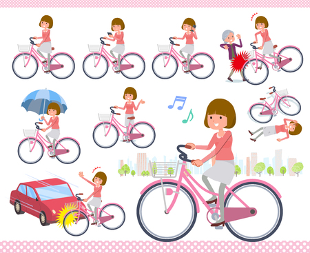 A set of women riding a city cycle.There are actions on manners and troubles.Its vector art so its easy to edit.