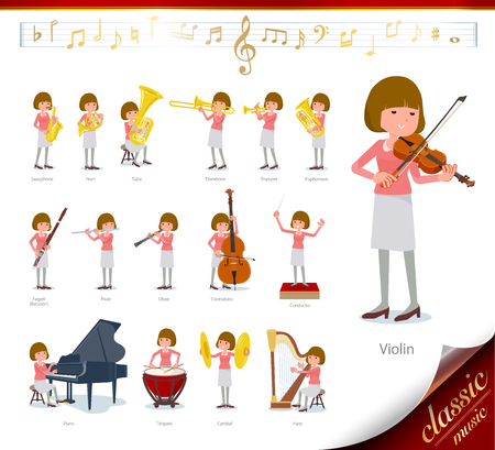 A set of women on classical music performances.There are actions to play various instruments such as string instruments and wind instruments.It's vector art so it's easy to edit. Archivio Fotografico - 111855369