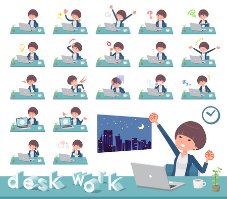 A set of women on desk work.There are various actions such as feelings and fatigue.It's vector art so it's easy to edit. Stock Vector - 111855370