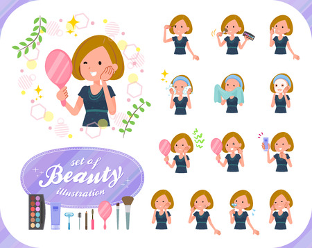 A set of women on beauty.There are various actions such as skin care and makeup.It's vector art so it's easy to edit.