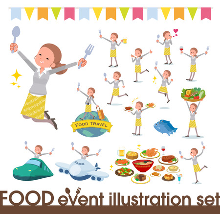 A set of women on food events.There are actions that have a fork and a spoon and are having fun.Its vector art so its easy to edit.