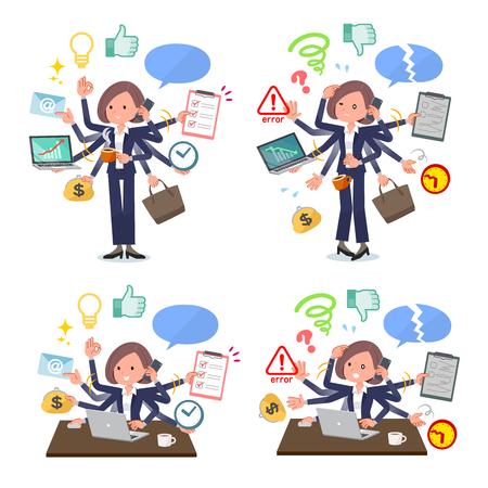Eine Gruppe von Frauen, die Multitasking im Büro ausführen. Es gibt Dinge, die reibungslos zu erledigen sind, und ein Muster, das in Panik gerät. Es ist Vektorgrafiken, sodass es einfach zu bearbeiten ist.