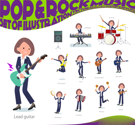 A set of women playing rock 'n' roll and pop music.There are also various instruments such as ukulele and tambourine.It's vector art so it's easy to edit. Ilustracja