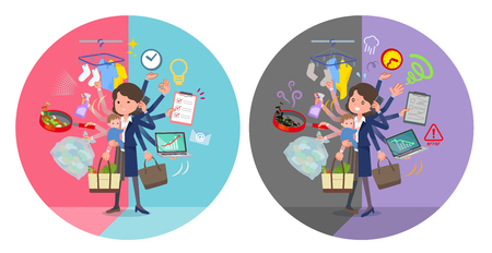 A set of middle women who perform multitasking in offices and private.There are things to do smoothly and a pattern that is in a panic.Its vector art so its easy to edit.