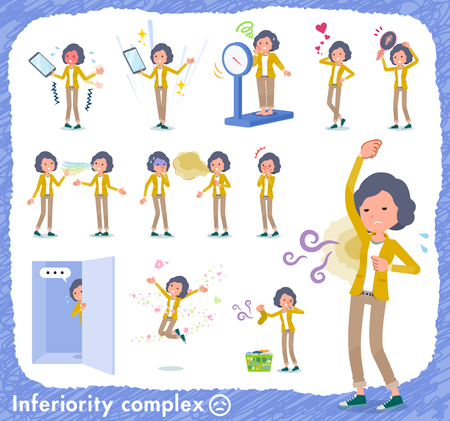 A set of middle women on inferiority complex.There are actions suffering from smell and appearance.It's vector art so it's easy to edit.