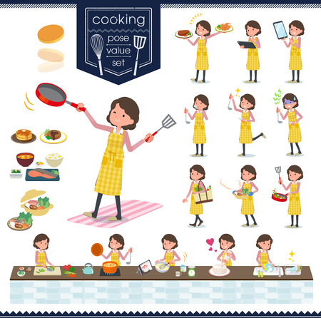 A set of middle women about cooking.There are actions that are cooking in various ways in the kitchen.Its vector art so its easy to edit.  イラスト・ベクター素材