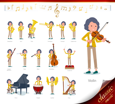 A set of middle women on classical music performances.There are actions to play various instruments such as string instruments and wind instruments.It's vector art so it's easy to edit. Ilustração