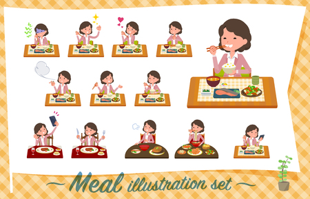 flat type Pink jacket Middle women_Meal Illustration