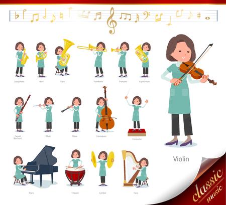 Zestaw środkowych kobiet na występach muzyki klasycznej. Istnieją akcje, w których można grać na różnych instrumentach, takich jak instrumenty smyczkowe i instrumenty dęte. To grafika wektorowa, dzięki czemu można ją łatwo edytować. Ilustracje wektorowe