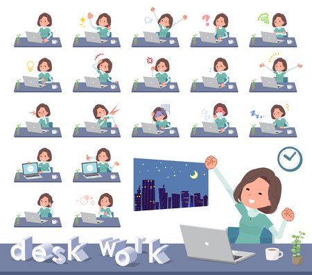 A set of middle women on desk work.There are various actions such as feelings and fatigue.It's vector art so it's easy to edit. Stock Vector - 111718014
