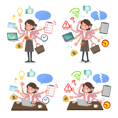 A set of middle women who perform multitasking in the office.There are things to do smoothly and a pattern that is in a panic.Its vector art so its easy to edit.