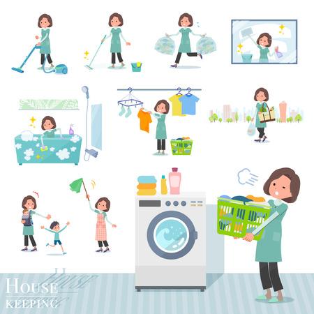 flat type tunic Middle women_housekeeping Illustration