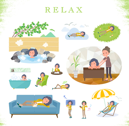 A set of middle women about relaxing.There are actions such as vacation and stress relief.Its vector art so its easy to edit.  イラスト・ベクター素材