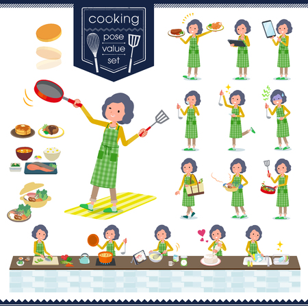 A set of middle women about cooking.There are actions that are cooking in various ways in the kitchen.It's vector art so it's easy to edit.