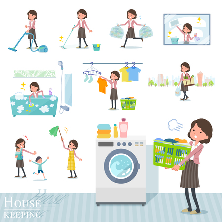 flat type Pink jacket Middle women_housekeeping Illustration