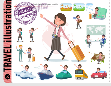 A set of middle women on travel.There are also vehicles such as boats and airplanes.Its vector art so its easy to edit. Illustration