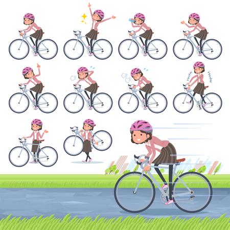 flat type Pink jacket Middle women_road bike Illustration