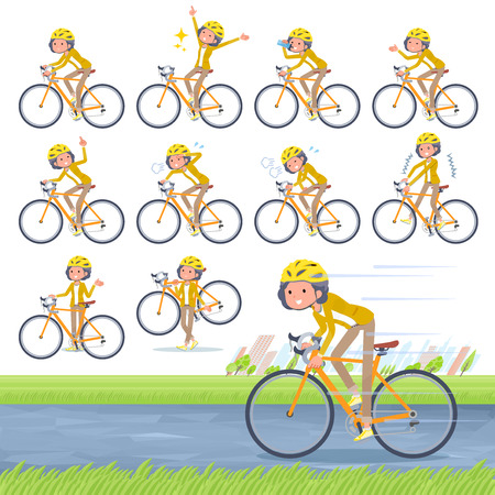 Flat type yellow jacket middle women road bike